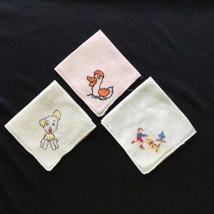 3 Vintage Child Hankies - Animal Embroidery